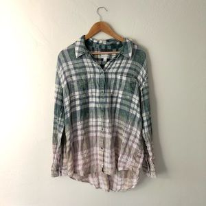 Melrose + Market Ombré Plaid Button Down Tunic